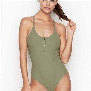NWT Victoria's Secret Sport Ribbed Henley Bodysuit